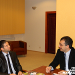 1 (from right to left) The first meeting and discussion between Professor Ovidiu Folcuț, Rector of the Romanian American University and Professor Levent Altinay