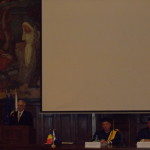 5.Academician Mugur Constantin Isarescu, Rector Pavel Năstase, and Professor Răzvan Zaharia