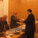 "7.	Professors Beniamin Cotigaru, Constantin Popescu, and Theodor Valentin Purcărea at  ""RESPAD Trophy"" award ceremony, 2006"