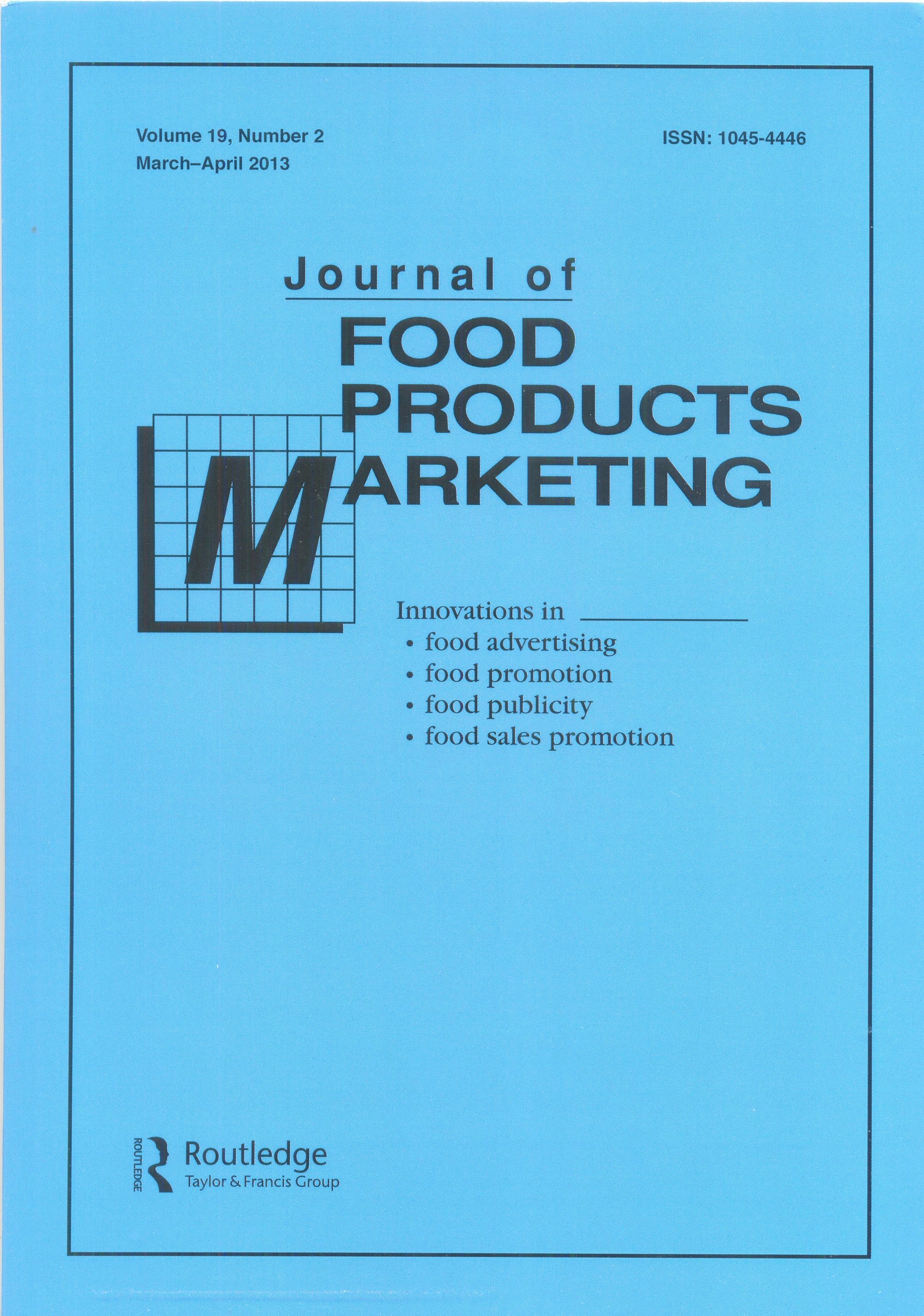 Journal Of Food Products Marketing Index