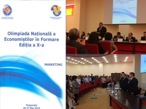 Agenda (Cover) of the National Students Studying Economics and Business Competition, Section: Marketing, ONEF 2015, May 2015,  Valahia University, Targoviste