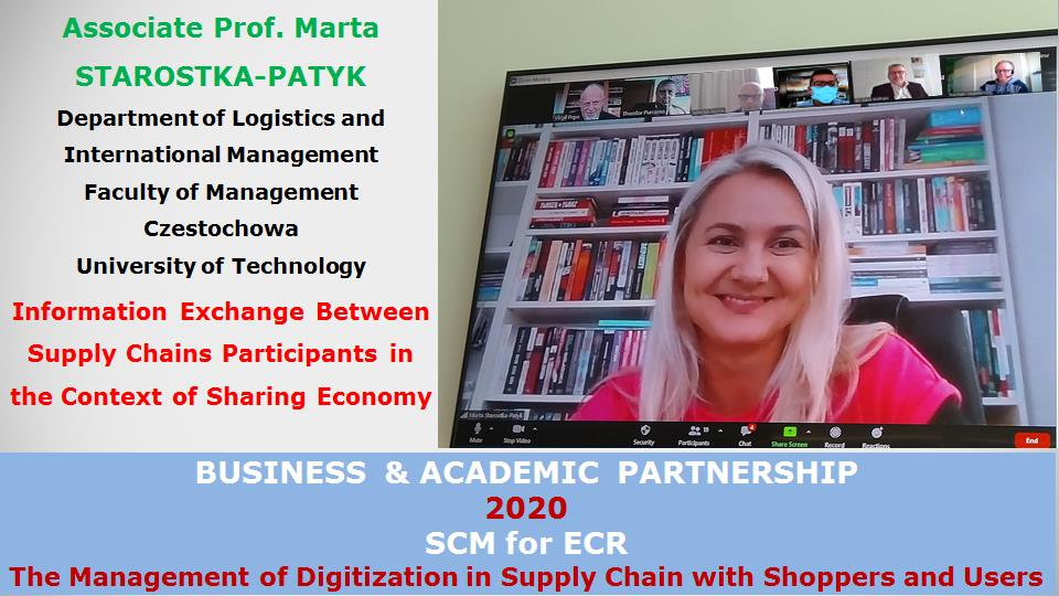 Associate Prof. Marta STAROSTKA-PATYK, Department of Logistics and International Management, Faculty of Management, Czestochowa University of Technology