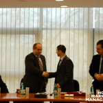 6 Professor Cezar Mihalcescu (Vice-Dean of the RAU's School of Domestic and International Economy of Tourism) and Professor Levent Altinay shaking hands
