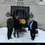 "9 Levent Altinay, between his friends Theodor Valentin Purcărea and Nicolae Albu, in front of the Gate of the ""Cetate"" (Fortresses, 1580), a building that, in medieval times, was one of the strategic points of defense in the old city of Brasov. Dominating the surroundings, the ""Fortresses"" offers its guests a specific atmosphere of those times and an unique view of the historical center of Brasov."
