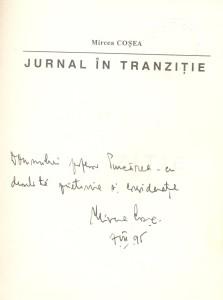 Mircea Cosea, Journal in transition, Dedication