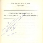 Nicolae Suta, International trade and contemporary commercial policies, Dedication