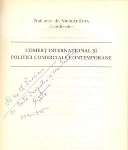 Nicolae Suta, International trade and contemporary commercial policies, Dedication
